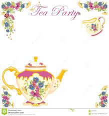 victorian tea pot tea party invitation royalty free stock