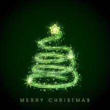 shiny stylish green tree design for merry