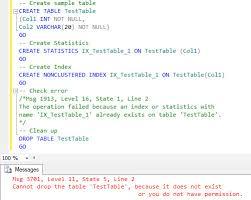 Sql Server Drop Table If Exists by Sql Server Sql Server Statistics Name And Index Creation Sql