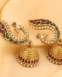gold earrings jhumka design buy pair of yellow gold jhumka design earrings in peacock motif