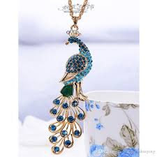 crystal diamond necklace images Wholesale luxury jewelry peacock pendant vintage sweater chain jpg