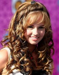 look beautiful with long curly hairstyles with bangs funky women