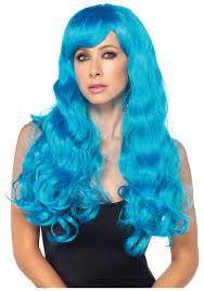 halloween wigs neon blue long wig