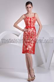 red lace knee length cocktail party dresses thecelebritydresses