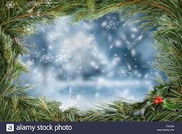 traditional christmas tree border with a snow scene background