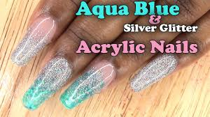 aqua blue and silver glitter nails full set acrylic nails with