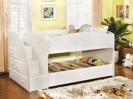 Bunk Bed With Trundle Bed Merritt White Staircase Bunk Bed Andrew S Furniture And Mattress