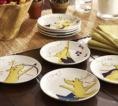 horderve plates santa s reindeer appetizer plates mixed set of 4 pottery barn