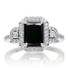 3 halo engagement rings 3 carat emerald cut black and white halo