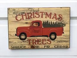 wooden pickup truck personalized vintage farm fresh christmas trees sign wood vintage