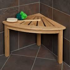 teak corner shower seat bathroom