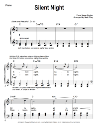 Silent Letters Worksheets Silent Night Easy Piano Sheet Music