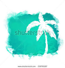 watercolor square paint stain coconut palm stock vector 239765287