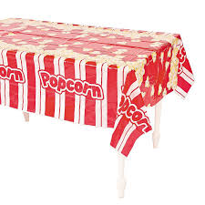 themed table cloth plastic popcorn table cover 54 x 108 1 pack