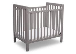 Grey Mini Crib Classic Mini Crib With Mattress Convertible To Bed Delta
