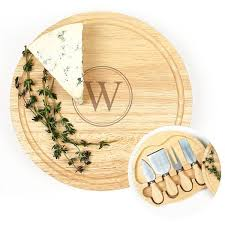 personalized cheese board personalized gourmet 5pc cheese serving board set w utensils