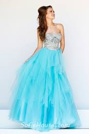 princess a line strapless long mint green tulle sequin beaded prom