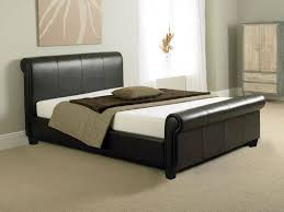 King Size Leather Sleigh Bed Sleigh Bed King Size Oak Vine Dine King Bed Black Leather