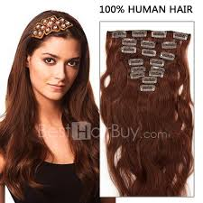 human hair extensions 18 inch 8pcs wavy clip in remy hair extensions