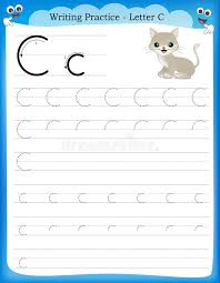 writing practice letter c stock vector image 50726414