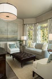 beautiful tufted ottoman coffee table in family room transitional