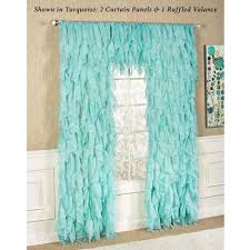 Sheer Ruffled Curtains Cascade Sheer Voile Ruffled Window Treatment