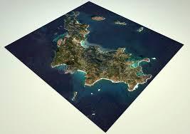 ã karten design satellitenbild heiliges barthã lemy karte abschnitt 3d stock
