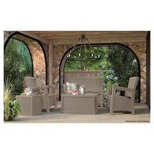 suncast elements resin patio furniture with storage collection