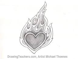 how to draw a heart with flames