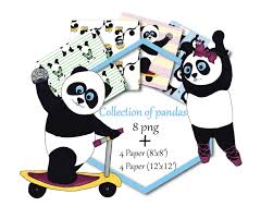 Paperpanda Panda Bear Clip Art And Digital Paper Set Panda Clipart Panda Clip