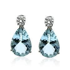 aquamarine drop earrings brilliant diamond studs pear aquamarine drop earrings