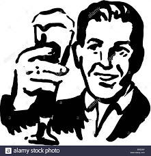 cartoon beer black and white a black and white man holding up a beer glass stock photo royalty