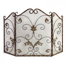 modest wrought iron fireplace screen design with scroll ornate