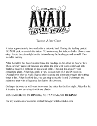 tattoo care swimming aftercare avail tattoo studio