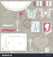romantic scrapbook design elements set paper stock vector