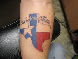 wichita falls texas flag in map tattoo on forearm