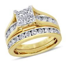 yellow gold bridal sets nk mosaic diamond collection 2 ctw princess cut diamond bridal