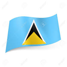 Green White And Yellow Flag National Flag Of Saint Lucia White Black And Yellow Triangles