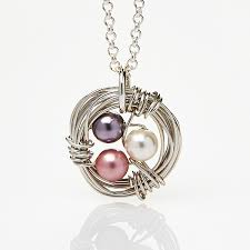 birthstone mothers necklace birthstone bird nest family necklace