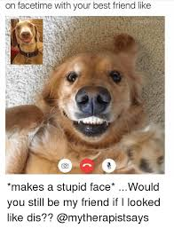 Stupid Friends Meme - on facetime with your best friend like makes a stupid face would