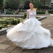 long sleeves lace applique illusion ball gown white organza