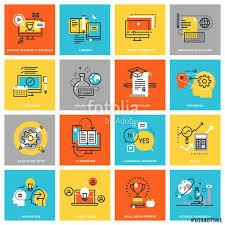 design online education modern thin line flat design icons for online education various