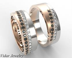 wedding rings his and hers matching sets his and hers unique matching black and white diamonds wedding band