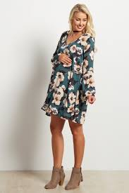 maternity dress green floral print bell sleeve chiffon maternity dress
