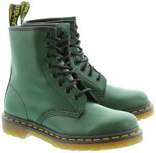 womens green boots uk dr martens leather 1460 8 eyelet boots in green in green