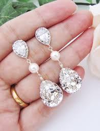 drop earrings wedding bridal earrings swarovski with pearl drop earrings