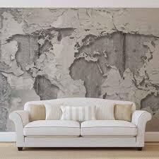 World Map Mural World Map Concrete Texture Wall Mural Photo Wallpaper 2819dk Ebay