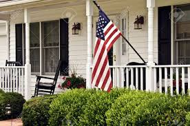 front porch of white colonial house stock photo picture and