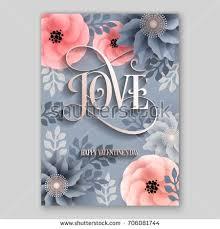 love poster vector big paper flower stock vector 706081744