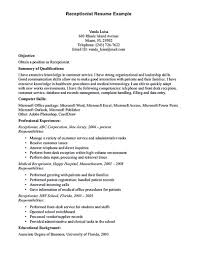 Sample Job Objectives For Resumes by Receptionist Resume Template Receptionist Resume Is Relevant With